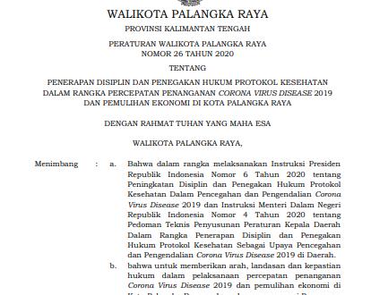 PERATURAN WALIKOTA PALANGKA RAYA NO.26 TAHUN 2020